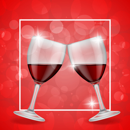 clinking: Clinking glasses of red wine on red background with decorative elements. Valentines day, anniversary, dating. Can be used for greeting cards, posters, leaflets and brochure Illustration