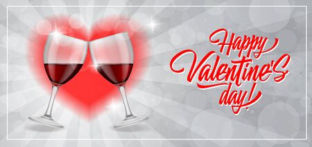 wineglasses: Happy Valentines Day lettering in frame with clinking wineglasses and heart on grey bokeh background. Valentines day, love, romance. Handwritten text, calligraphy. Can be used for greeting cards, posters, leaflets Stock Photo