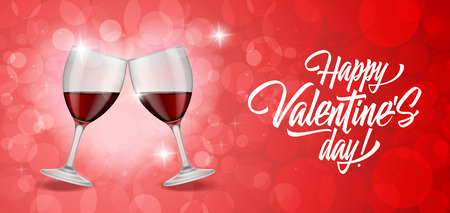 clinking: Happy Valentines Day calligraphic lettering on red bokeh background with clinking wineglasses. Valentines day. Handwritten text can be used for greeting cards, posters, leaflets