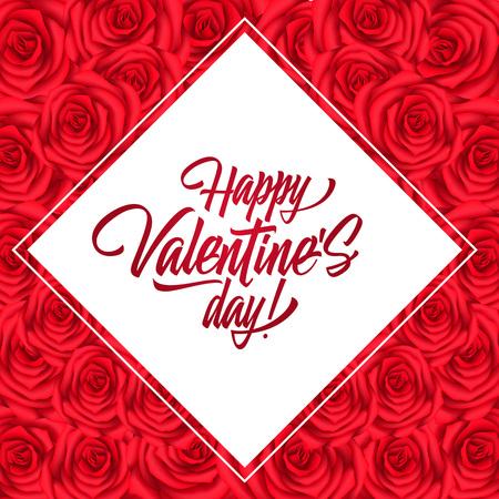 Happy valentines day lettering in rhomb saint valentines day happy valentines day lettering in rhomb saint valentines day greeting card with roses pattern m4hsunfo