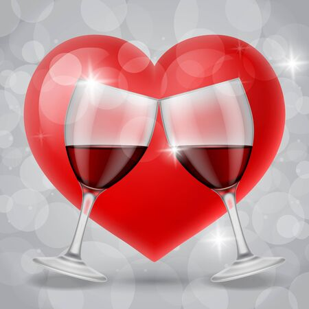 clinking: Clinking glasses of red wine on grey bokeh background with red heart. Valentines day, anniversary, romance. Can be used for greeting cards, posters, leaflets and brochure Stock Photo