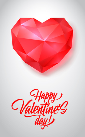 Happy Valentine Day lettering with gem heart on white background. Valentines day, love, romance. Handwritten text, calligraphy. Can be used for greeting cards, posters, leaflets