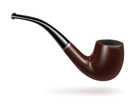 Old-fashioned smoking pipe. Addiction, bad habit, tobacco. Smoking concept. Can be used for greeting cards, posters, leaflets and brochure
