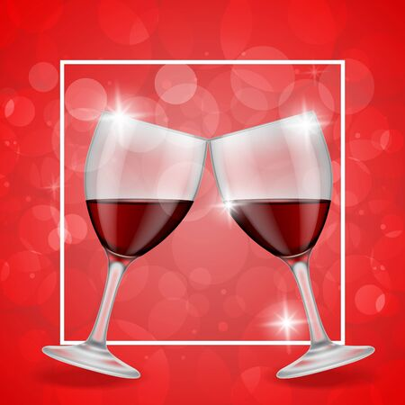 wineglasses: Clinking wineglasses on red background Stock Photo