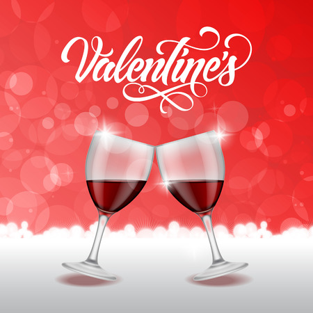 clinking: Valentines calligraphic lettering with clinking wineglasses on red bokeh background. Valentines day, love, romance. Handwritten text, calligraphy. Can be used for greeting cards, posters, leaflets Illustration