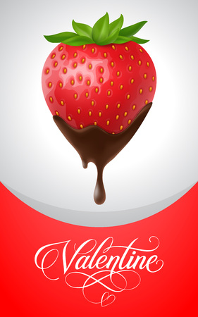 Valentine lettering with strawberry in chocolate on red and white background. Valentines day, love, romance. Handwritten text, calligraphy. Can be used for greeting cards, posters, leaflets