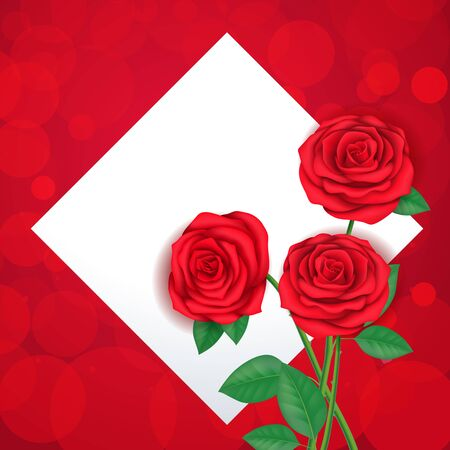 rhomb: Three Red Roses and Rhomb Frame
