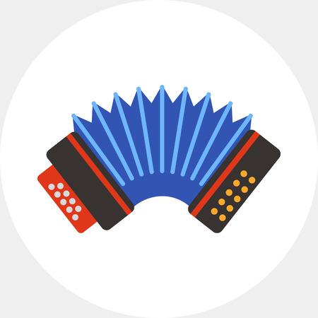 acordeón: Blue accordion vector icon