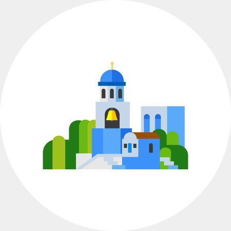 Blue Santorini church landscape icon