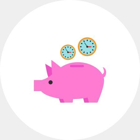Clock in Piggy Bank Icon