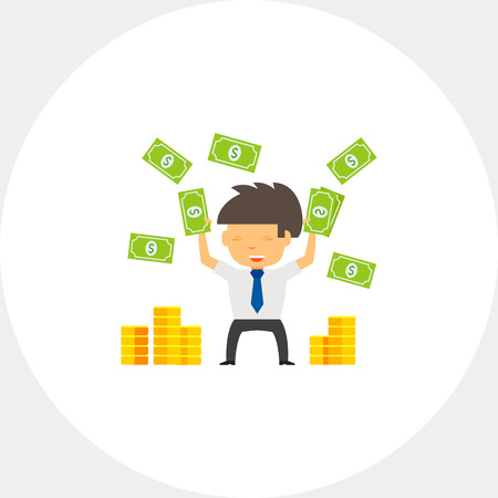 throwing: Businessman Throwing Money Up Icon