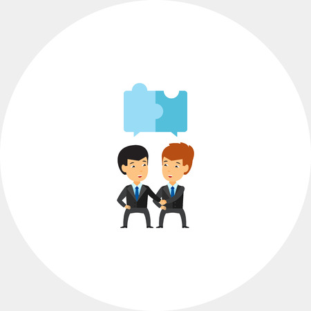 compatibility: Businessmen with puzzle elements icon