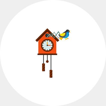 reloj cucu: Cuckoo Clock Vector Icon Vectores