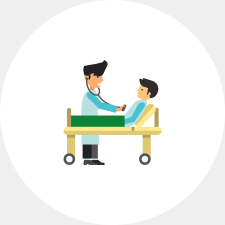checking: Doctor Checking Male Patient Icon