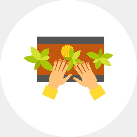 Female planting flowers icon