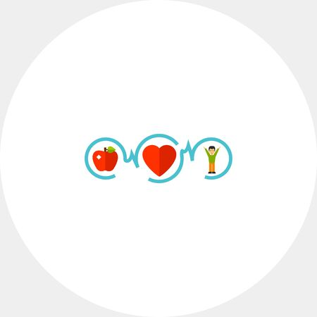 Healthy Food, Sport and Healthy Heart Icon