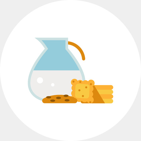 Multicolored vector icon of glass jug with milk and cookies