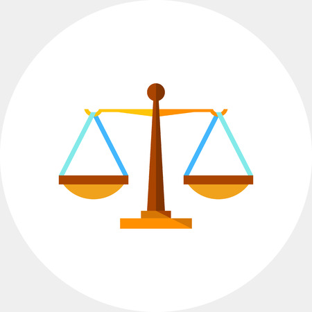 Justice weighing scales. Equilibrium, fairness, judging. Justice concept. Can be used for topics like law, legal procedures, marketing. Illustration