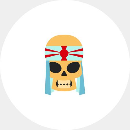 kamikaze: Kamikaze flat icon. Multicolored vector illustration of skull of kamidze with bandage hachimaki
