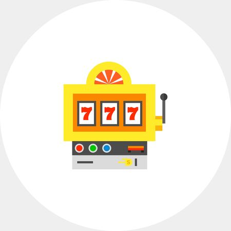 fortune concept: Slot machine with lucky seven winning combination. Fortune, success, random. Luck concept. Can be used for topics like gambling, marketing, technology.