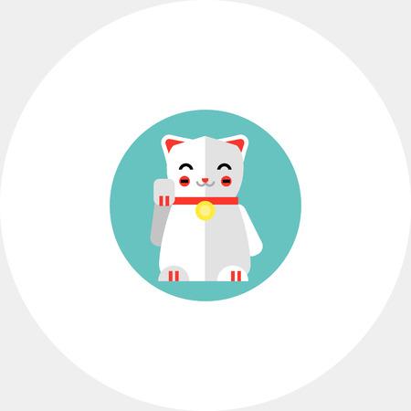neko: Multicolored vector icon of Japanese lucky cat icon