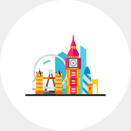 distinctive: London with Tower Bridge and Big Ben Icon Illustration