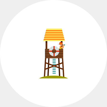 rescuing: Lifeguard Tower Icon Illustration