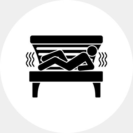 solarium: Man Lying in Solarium Tanning Bed Icon Illustration