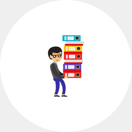 pile of documents: Man carrying Big Pile of Documents Icon Illustration