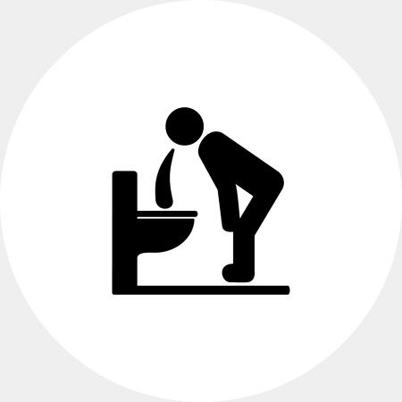 Man Vomiting over Toilet Icon 向量圖像