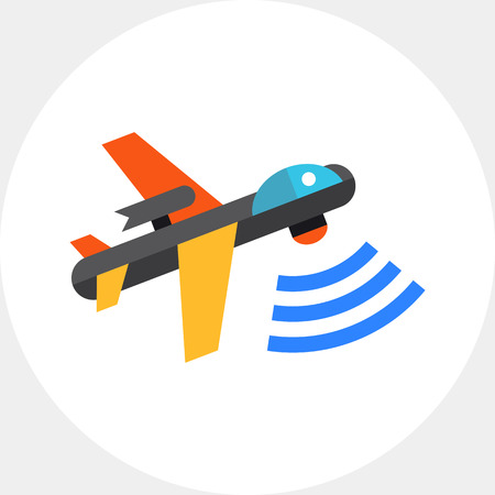 combat: Multicolored flat vector icon of combat aerial military drone Illustration