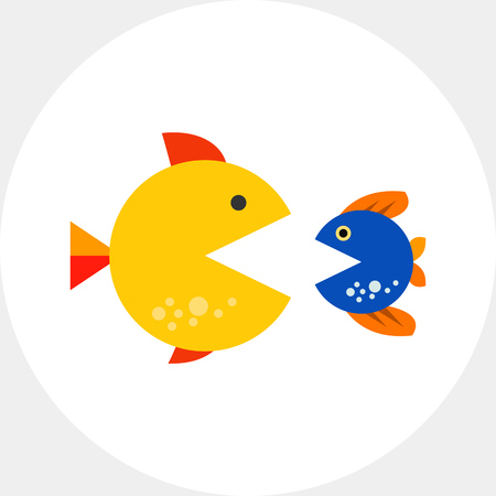 swallowing: Big and small fishes with open mouths, looking at each other. Struggle, survival, danger. Merger and acquisition concept. Can be used for topics like business, consulting, finance, banking.