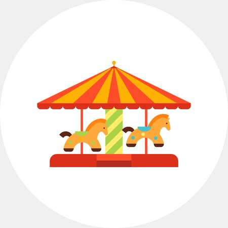 Icon of classic merry-go-round with striped roof and horse figures Illustration