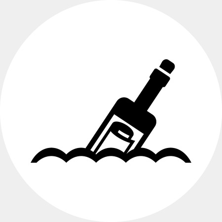 Vector icon of scroll message in bottle floating on waves
