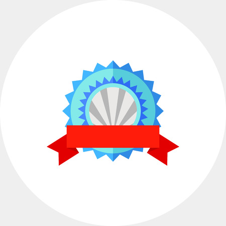 Illustration of blue modern badge with red ribbon. Winner, award, success. Award concept. Can be used for topics like awards, success, competition