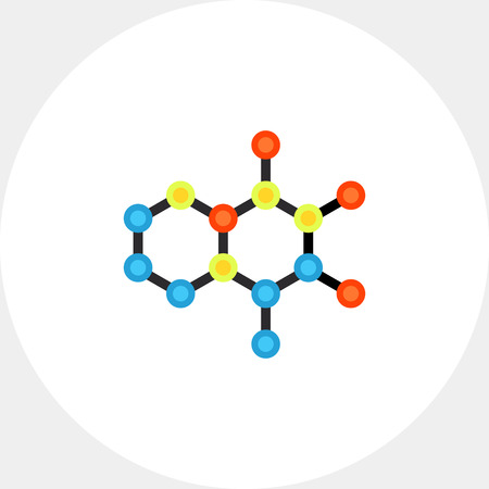 Molecular structures flat icon. Multicolored vector illustration of molecular models Illustration