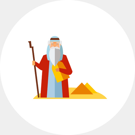 Moses in desert with pyramids in background. Prophet, story, traditional. Judaism concept. Can be used for topics like judaism, religions, history.