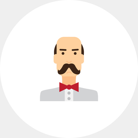 blank expression: Moustached man  portrait Illustration