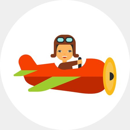 Cartoon flying old plane with smiling pilot navigating it, side view. Retro, military, flight. Plane concept. Can be used for topics like aviation, transport, history.