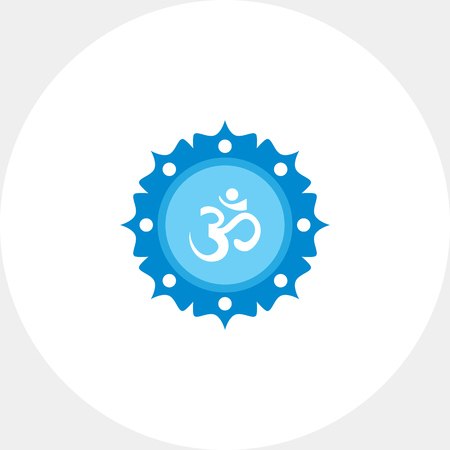 om: Icon of om sign on background with floral elements Illustration