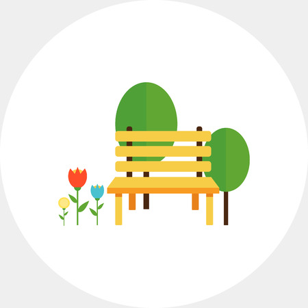 Park bench and trees Illustration