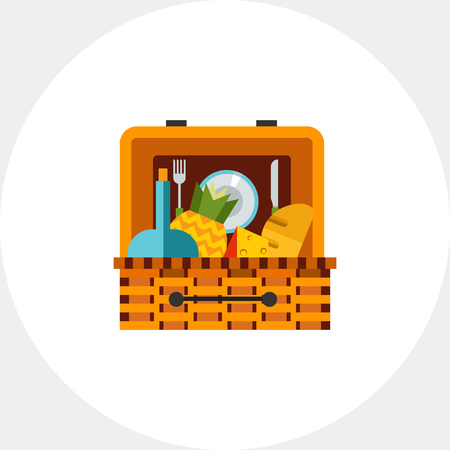 Picnic Basket with Food Icon