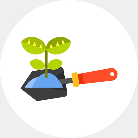 seedlings: Plant on spade vector icon Illustration