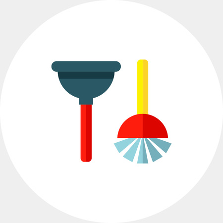 plunger: Plunger and Toilet Brush Icon Illustration