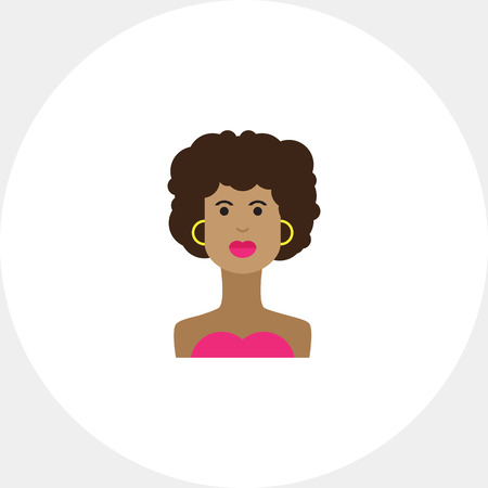 afro hairdo: Portrait of young African American  woman Illustration