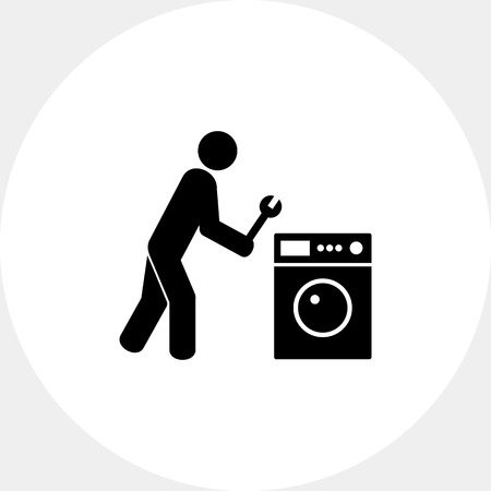 lavadora con ropa: Repairing Clothes Washer Icon