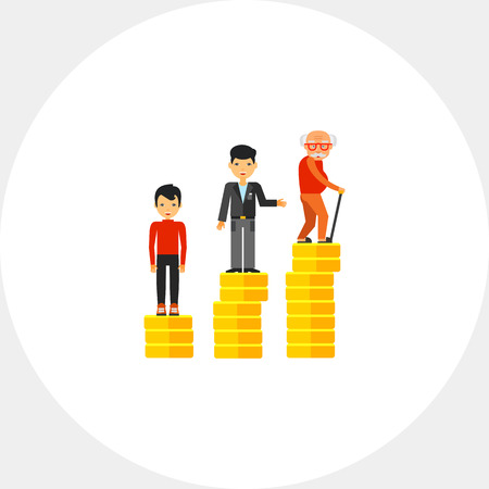 age old: Retirement Money Plan Concept Icon Illustration