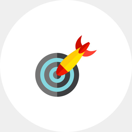 darts flying: Rocket hitting target icon Illustration