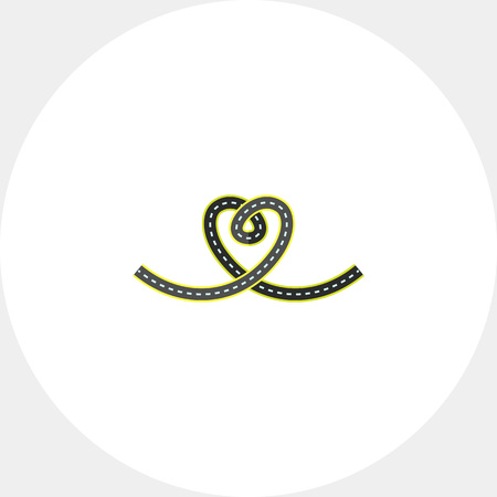 Illustration of road in form of heart. Traffic, love, roadway, heart symbol. Love concept. Can be used for topics like traffic, love, travelling