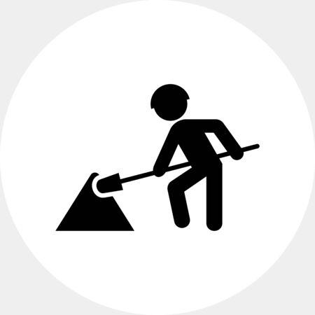 digging: Icon of digging man silhouette with spade Illustration